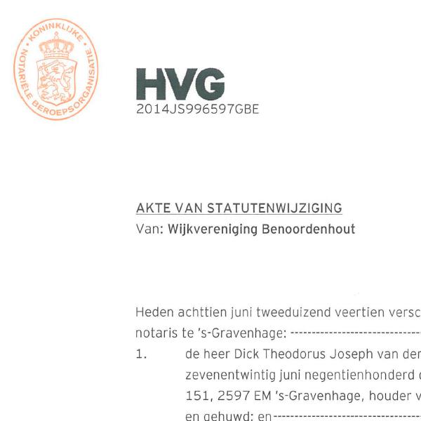 Wijkvereniging Benoordenhout Statutem